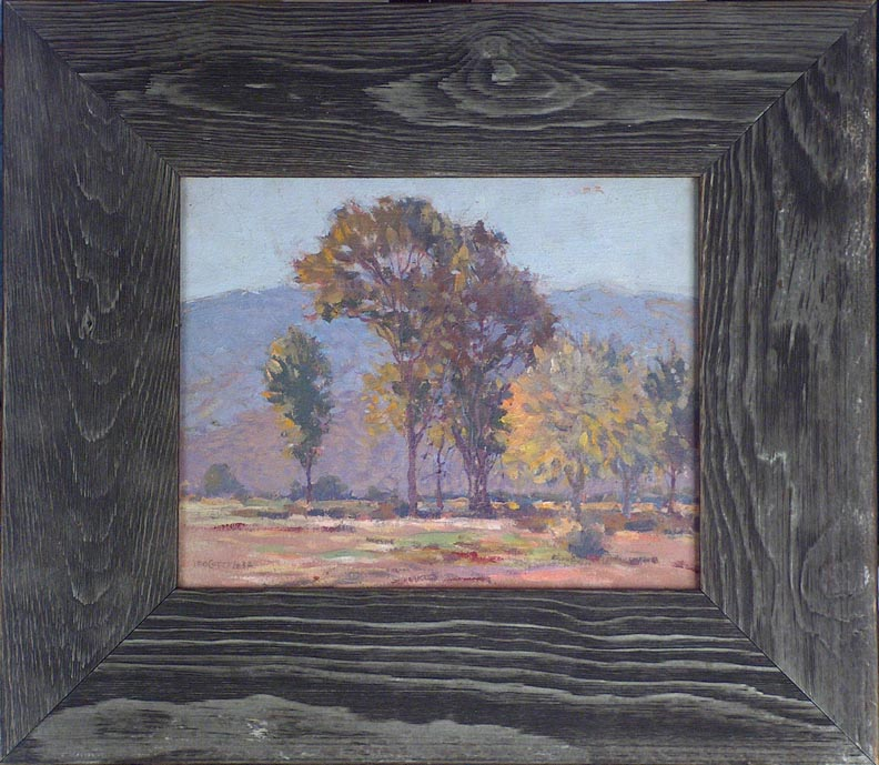 Leo Cotton California Trees and Hills with Frame