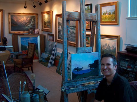 Alex Dzigurski II  n studio at his easel