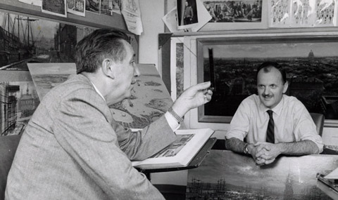 Peter Ellenshaw discussing 20000 Leagues with Walt Disney