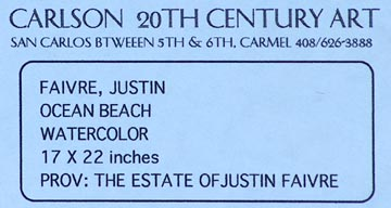Justin Faivre Ocean Beach Provenance Label Verso