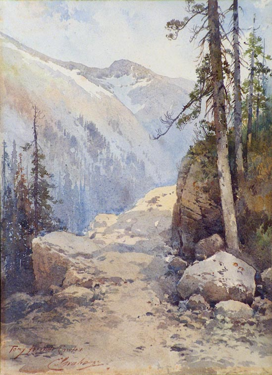 Charles Graham Mountain Path and Conifers