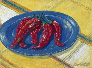John W Hilton Chiles on a Blue Plate