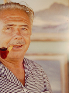 John W Hilton with his pipe