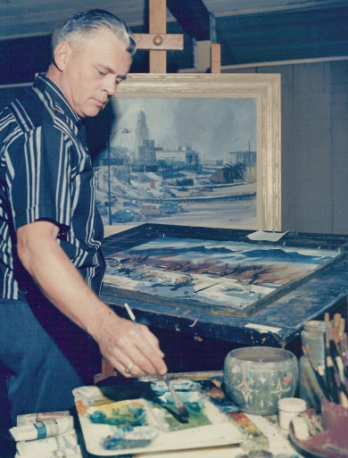 Ralph Hulett working at home studio, circa 1965