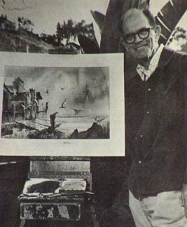 Robert Landry at easel in Hawaii