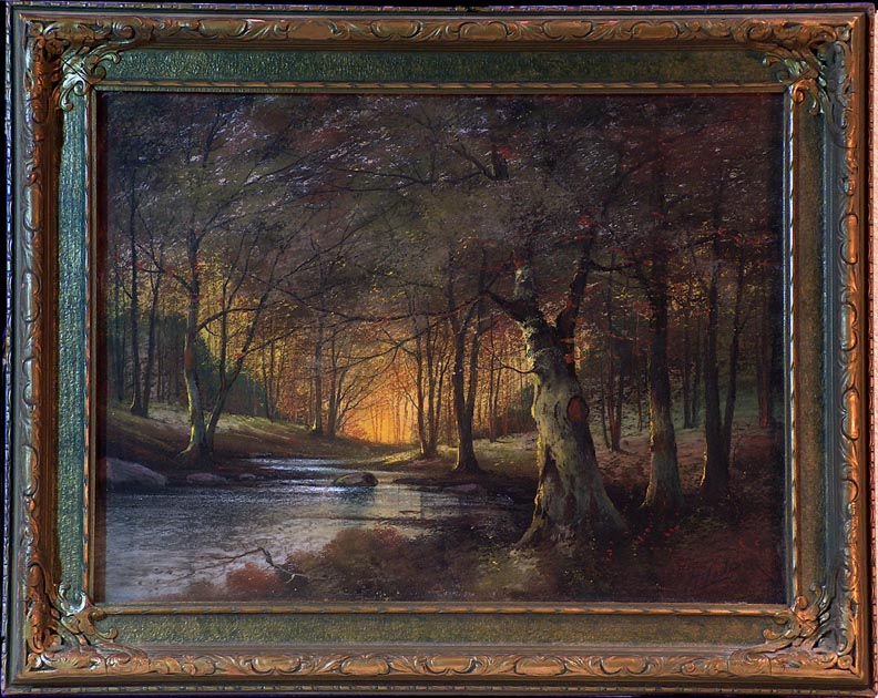 Harry Linder Trees and Stream with frame