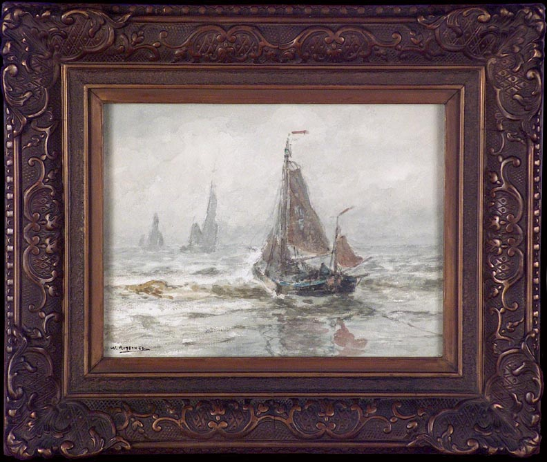 William Ritschel Boats in the Surf with Frame