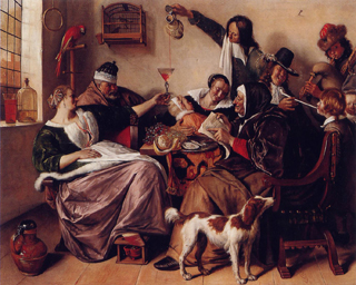 Jan Steen,  As the Old Sing, So Twitter the Young, 1668-70