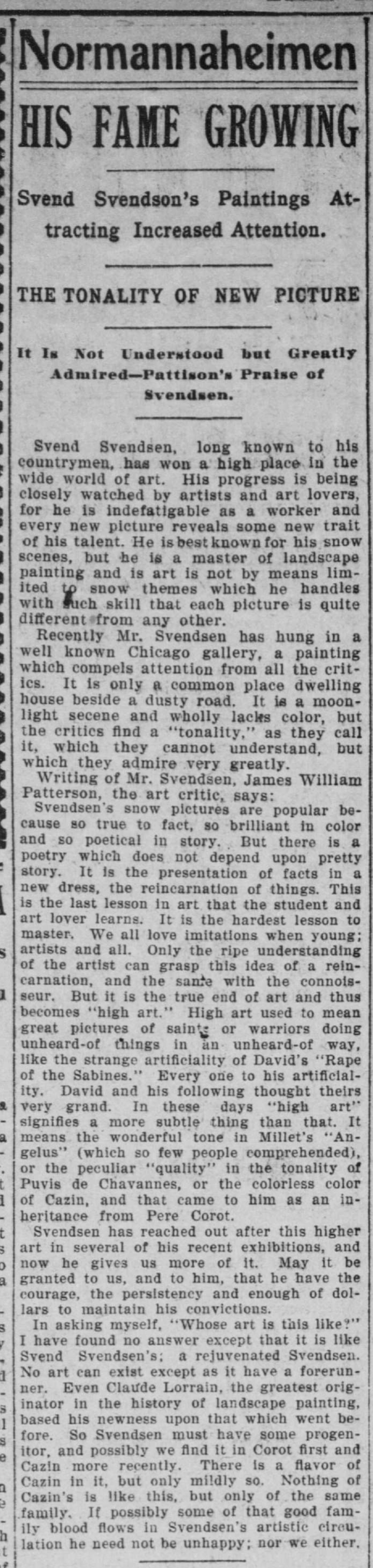 Svend Svendsen Minneapolis Tribune May 31 1901