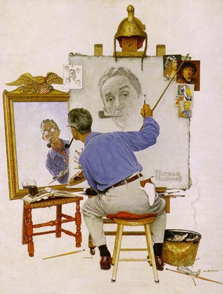 Norman Rockwell Triple Self Portait