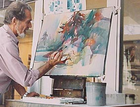 Robert E Wood at his easel
