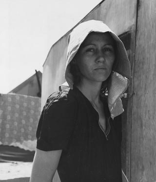 Woman with make-shift hat, untitled Dorothea Lange