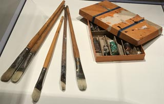 Some of E. Charlton Fortune's brushes and paints