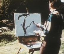 Joshua Meador painting in the film Four Artists Paint One Tree
