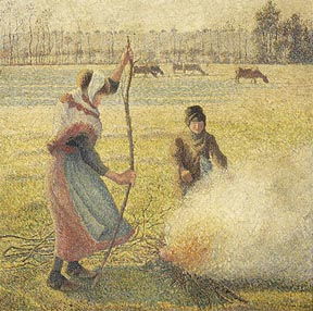 Pissarro_Camille_Hoarfrost_Peasant_Girl_Making_Fire