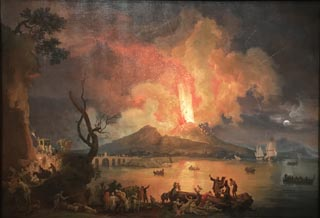 Eruption of Mount Vesuvius with the Ponte della Maddalena in the Distance, ca 1770 Pierre-Jacques Antoine Volaire (aka Chevalier Volaire), French, 1729-1799