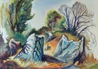 Charles Frederick Surendorf Boulders with Landscape 1951 Thumbnail