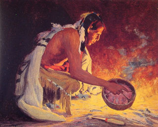 E Irving Couse Indian by Firelight